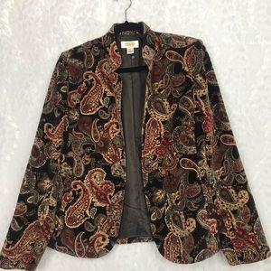 Talbots brown paisley soft velvet blazer Sz 6